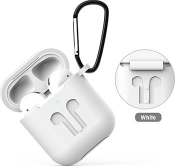 Фото - Чехол силиконовый Eva для наушников Apple AirPods 1/2 с карабином - Белый (CBAP01W) сифон для душевого поддона unicorn easyopen с латунным выпуском 1 1 2 d40 с отводом g311e