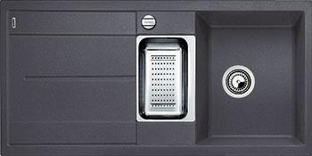 Кухонная мойка BLANCO METRA 6S SILGRANIT темная скала с клапаном-автоматом кухонная мойка blanco dalago 45 f silgranit темная скала с клапаном автоматом