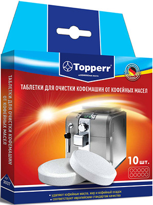 Таблетки для очистки Topperr кофемашин от масел 10 шт. 3037 цитрамон п 10 таблетки медисорб