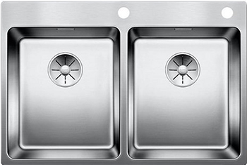 Кухонная мойка BLANCO ANDANO 340/340-IF-A нерж. сталь зеркальная полировка с клапаном-автоматом 522997 мойка кухонная blanco lantos 9e if полированная нерж сталь с клапаном автоматом 516277