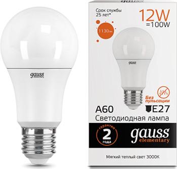 Лампа GAUSS LED Elementary A 60 12 W E 27 1130 lm 3000 K 1/10/50 23212