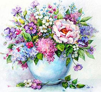 Фото - Алмазная мозаика Цветной ''Нежные цветы в белой вазе'' (40х50) на подрамнике lg147 алмазная мозаика цветной букет нежных цветов 40х50 на подрамнике lg104