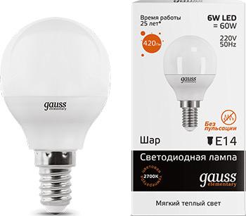 Лампа GAUSS LED Elementary Шар 6W E14 420lm 3000K 53116  упаковка 10шт