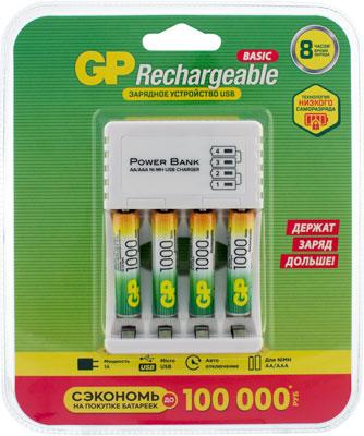 Зарядное устройство и аккумуляторы GP CPB 4 акк 1000mAh ААА micro USB кабель GP GP100AAAHC/CPB-2CR4