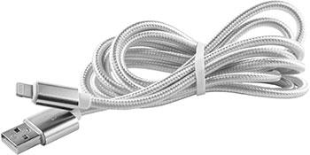 Кабель Red Line USB-8-pin для Apple (2 метра) нейлоновая оплетка серебристый