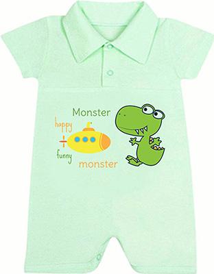 цены Песочник-поло Idea Kids Happy Monster с коротким рукавом для мальчика 100% хлопок кулиска Рт.68 Зеленый 0
