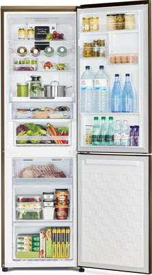Двухкамерный холодильник Hitachi R-BG 410 PU6X GBE бежевое стекло