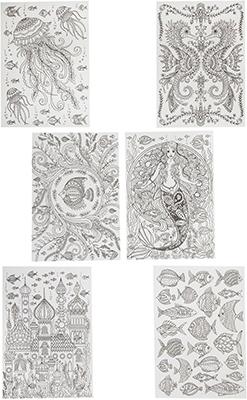 Набор для раскрашивания Bondibon Набор раскрасок антистресс Океан 6 листов 30х21 см ВВ1710