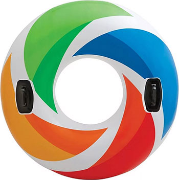Надувной круг Intex Цветной Вихрь с ручками 58202 круг для плавания детский intex ocean reef 61см 59242