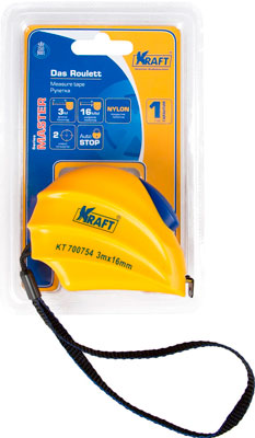 Рулетка Kraft 3м х 16мм Master KT 700754 леска плетеная sufix pe glide master желтая 135м 0 16мм 9 2кг