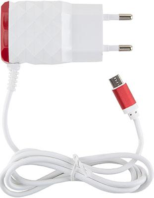 Сетевое зарядное устройство Red Line 2 USB и MicroUSB (модель NC-2.1AC) 2.1A красный сетевое зарядное устройство prime line 1a с кабелем micro usb черный