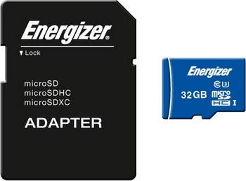 Карта памяти Energizer 32 GB MicroSDHC class 10 UHS-I U3 Ultimate с адаптером
