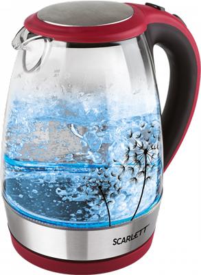 Чайник электрический Scarlett SC-EK27G49 красный с черным самокат joerex для подростков sc 2004s красный красный