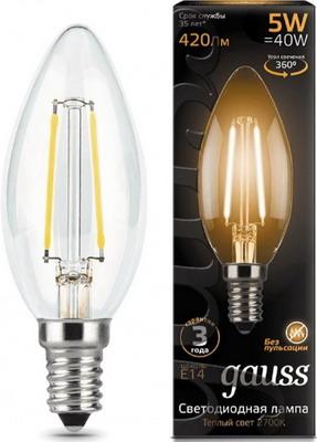 Лампа GAUSS LED Filament Свеча E14 5W 420lm 2700К 103801105 Упаковка 10шт лампочка gauss led filament candle dimmable e14 5w 2700к 103801105 d