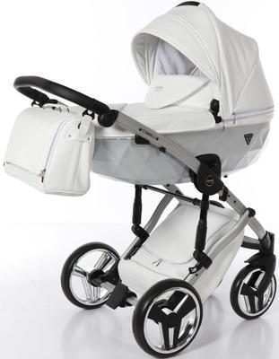 коляски 2 в 1 Коляска детская 2 в 1 Junama MIRROR SATIN JDMS-04 (белый/короб и рама матовое серебро)