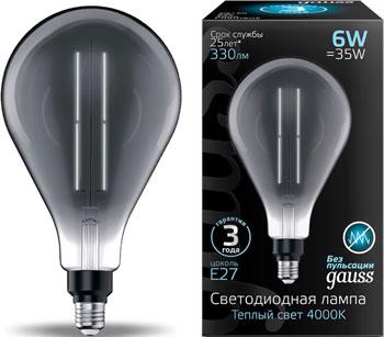 Лампа GAUSS LED Vintage Filament Straight PS160 6W E27 290*160mm Gray 330lm 4000K