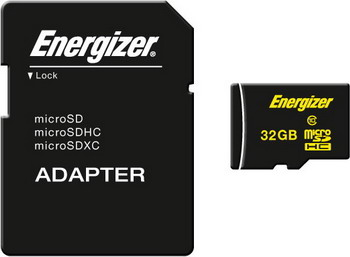 Карта памяти Energizer 32 GB MicroSDHC class 10 UHS-I с адаптером