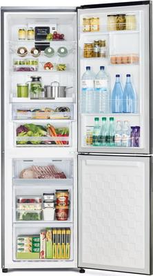 лучшая цена Двухкамерный холодильник Hitachi R-BG 410 PU6X GS серебристое стекло