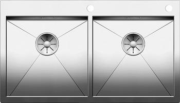 Кухонная мойка BLANCO ZEROX 400/400-IF/А нерж. сталь зеркальная полировка с клапаном-автоматом 521648 мойка кухонная blanco lantos 9e if полированная нерж сталь с клапаном автоматом 516277