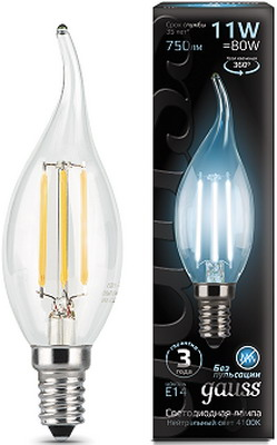 Лампа GAUSS Filament Свеча на ветру E 14 11 W 4100 K 104801211 лампа gauss filament свеча на ветру e 14 5w 4100 k golden 104801805
