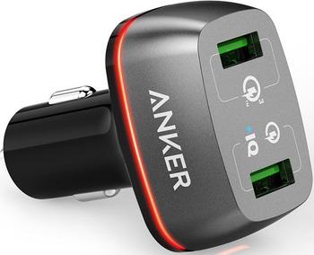 Автомобильное зарядное устройство ANKER PowerDrive+ 2 with Quick Charge 3.0 черный