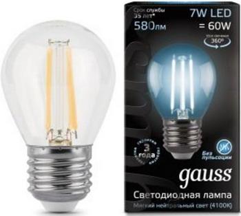 Лампа GAUSS, LED Filament Шар E27 7W 580lm 4100K 105802207 Упаковка 10шт, Китай  - купить со скидкой