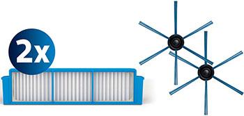 Сменный комплект аксессуаров Philips, FC8007/01 синий белый, Китай  - купить со скидкой