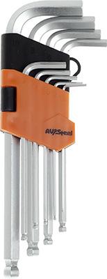 Набор ключей AV Steel Г-образных HEX с шаром удлиненных 1 5-10мм 9 предм. AV-365109