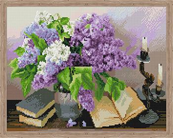 Фото - Алмазная мозаика Цветной ''Натюрморт с сиренью'' (40х50) на подрамнике qa204021 алмазная мозаика цветной букет нежных цветов 40х50 на подрамнике lg104