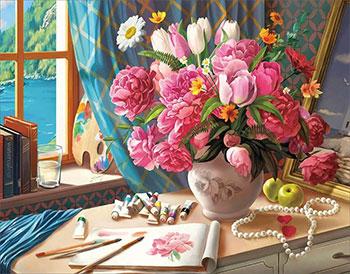 Алмазная мозаика Цветной ''Рабочий стол художника'' (40х50) на подрамнике lg218