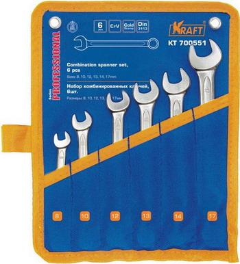 Набор комбинированных ключей Kraft KT 700551 набор комбинированных ключей kraft master с держателем 9 предметов