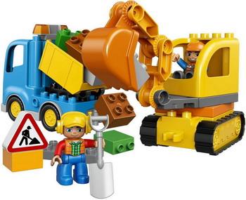 Конструктор Lego DUPLO Town: Грузовик и гусеничный экскаватор 10812 lego duplo 10812 конструктор лего дупло грузовик и гусеничный экскаватор