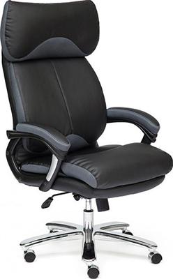 Фото - Офисное кресло Tetchair GRAND (кожа/кож.зам/ткань черный/серый-12) кресло офисное tetchair поло polo доступные цвета обивки искусств чёрная кожа