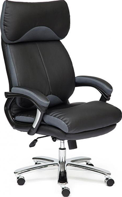 Офисное кресло Tetchair GRAND (кожа/кож.зам/ткань черный/серый-12) кресло tetchair amir 3 черный серый oh205 oh217