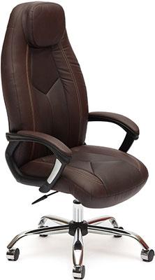Кресло Tetchair BOSS (хром) (кож/зам коричневый/коричневый перфорированный 2 TONE/2 TONE /06) кресло офисное tetchair комфорт ст comfort st доступные цвета обивки искусств коричн кожа 2 tone