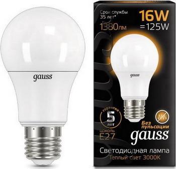 Лампа GAUSS LED A 60 16 W E 27 3000 K 102502116 все цены
