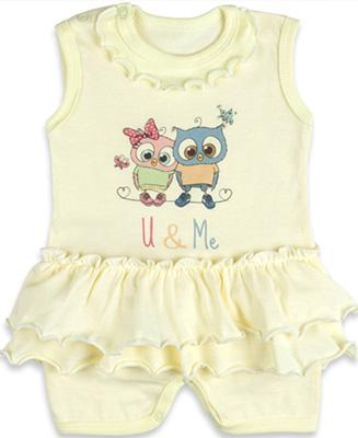 Песочник с юбочкой Idea Kids Совята для девочки 100% хлопок кулиска Рт.68 Желтый 0007св стоимость