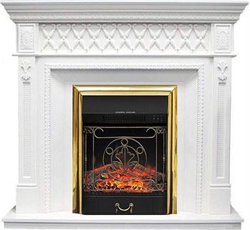 Каминокомплект Royal Flame Alexandria с очагом Majestic FX Brass (RB-STD3BRFX) (белый дуб)