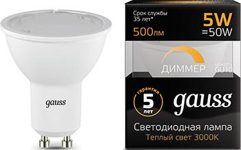 Лампа GAUSS LED MR 16 GU 10-dim 5W 500 lm 3000 K диммируемая 101506105-D цена 2017