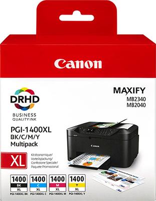 Фото - Набор картриджей Canon PGI-1400 XL BK/C/M/Y EMB MULTI 9185 B 004 тонер картридж canon pgi 2400 xl y 9276 b 001 желтый
