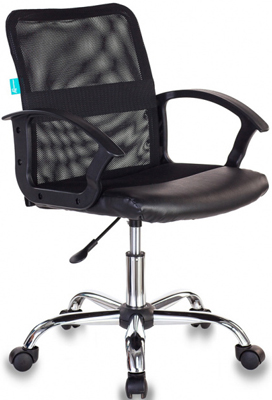 Кресло Бюрократ CH-590SL/BLACK спинка сетка черный сиденье черный искусственная кожа крестовина хром офисное кресло profoffice skin сетка кожа белый черный хром сетка кожа полозья