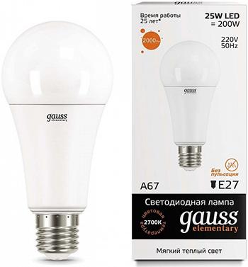 Лампа GAUSS LED Elementary A67 25W E27 2000lm 3000K 1/10/50 73215
