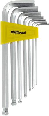 Набор ключей AV Steel Г-образных HEX с шаром удлиненных 2 5-10мм 7 предм. AV-365107