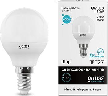 Лампа GAUSS LED Elementary Шар 6W E14 450lm 4100K 53126  упаковка 10шт