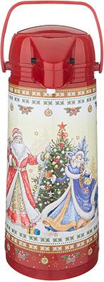 Фото - Термос Agness ''Christmas collection'' со стеклянной колбой и помпой 1.9 л бордовый 910-674 помповый термос agness 910 659 1 9 л красный черный