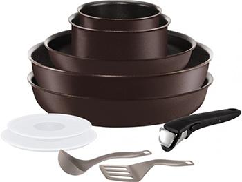 Набор посуды со съемной ручкой Tefal L 6559802 Ingenio Chefs из 10 предметов: ковши 16/18см сковороды 22/26см вок 26см цена