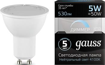 Лампа GAUSS LED MR 16 GU 10-dim 5W 530 lm 4100 K диммируемая 101506205-D цена 2017