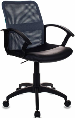 Кресло Бюрократ CH-590/DG/BLACK спинка сетка серый сиденье черный искусственная кожа кресло компьютерное рейсер racer доступные цвета обивки искусств чёрн кожа оранжевая сетка