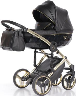 коляски 2 в 1 Коляска детская 2 в 1 Junama FLUO LINE JDFL-04 (кожа черный/короб черный/рама золото)