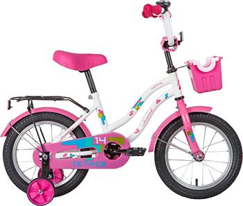 Велосипед Novatrack 14 TETRIS розовый тормоз нож крылья цвет багажник корзина полная защ.цепи